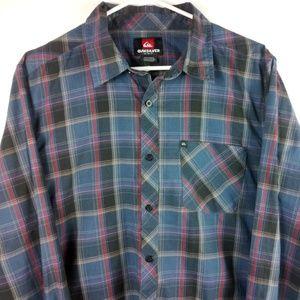 Quicksilver Men's Plaid Long Sleeve Button Up